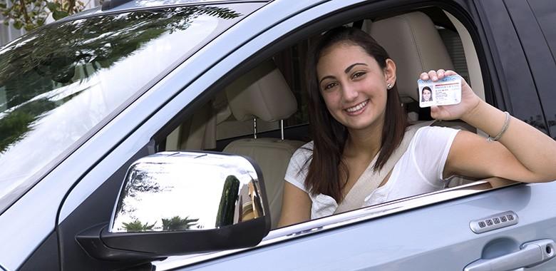 license in car smiling